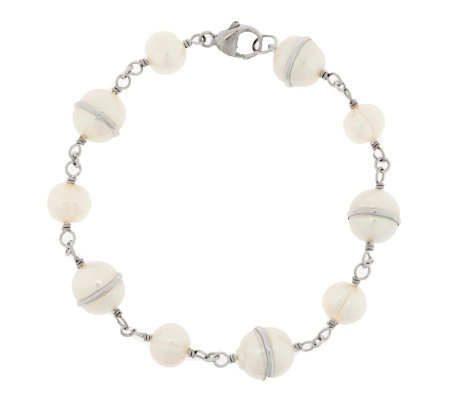 Honora Cultured Pearl Sterling Saturn Station Bracelet