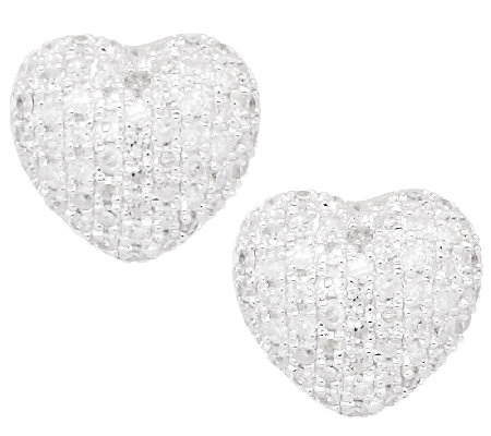 Pave Diamond Heart Earrings Sterling 1 3 Cttw By Affinity