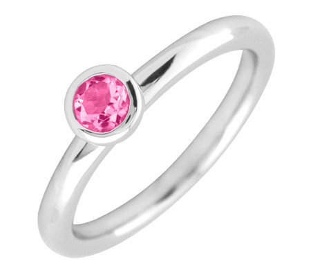 Simply Stacks Sterling 4mm Round Pink Tourmaline SolitaireRin