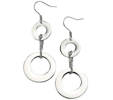 Stainless Steel Polished Double Circle Dangle Earrings