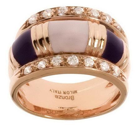 Bronzo Italia Enamel Crystal Ring