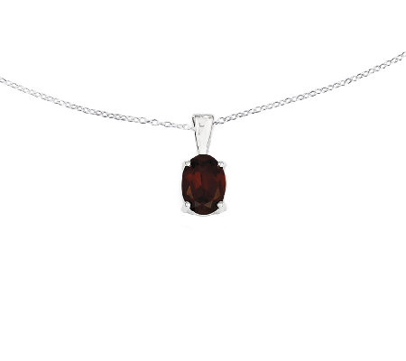 "Sterling Silver Faceted Oval Gemstone Pendant w / 18"" Chain"