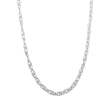 "Sterling 42"" Textured Oval Link Necklace"