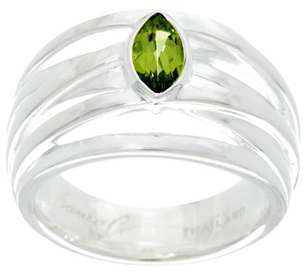 Franco P Sterling 0.50 cttw Marquise Peridot Infinity Ring
