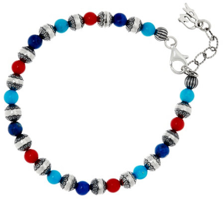 American West Sterling Silver &Multi-Gemstone Bead Bracelet