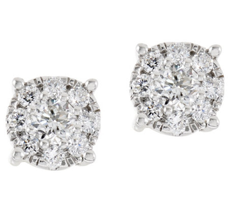 Round Diamond Cluster Stud Earrings, 14, 1/2 cttw, by Affinity