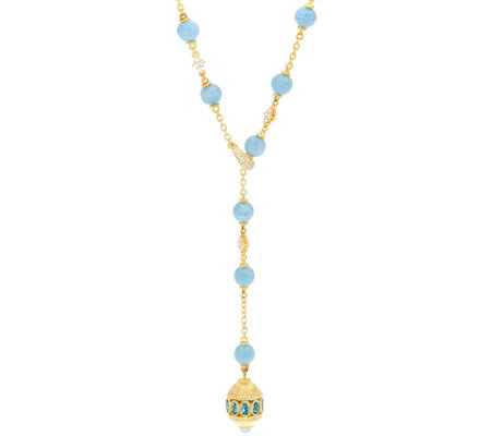 Judith Ripka 14K Clad Aquamarine Bead & Blue Topaz Necklace