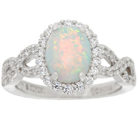 Diamonique and Synthetic Opal Ring, Sterling