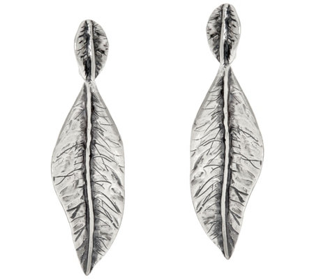 Or Paz Sterling Silver Textured Leaf Dangle Earrings