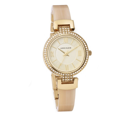 Anne Klein Crystal Bezel Bangle Watch