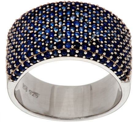 Bold Pave' Colors of Sapphire Sterling Ring 2.00 cttw