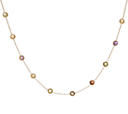 "Italian Gold 16"" Gemstone Station Necklace, 14K Gold 1.2g"