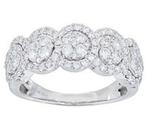 Five Stone Cluster Design Diamond Ring, 1.00 cttw, 14K, by Affinity - J351880