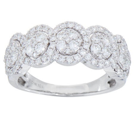 Five Stone Cluster Design Diamond Ring, 1.00 cttw, 14K, by Affinity