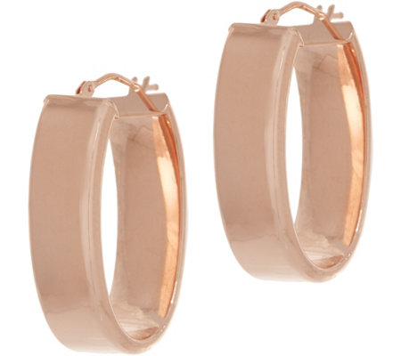 Italian Gold Polished Oval Hoop Earrings, 14K Gold