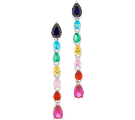 Colors of Diamonique Pear Drop Earrings, Sterling Silver