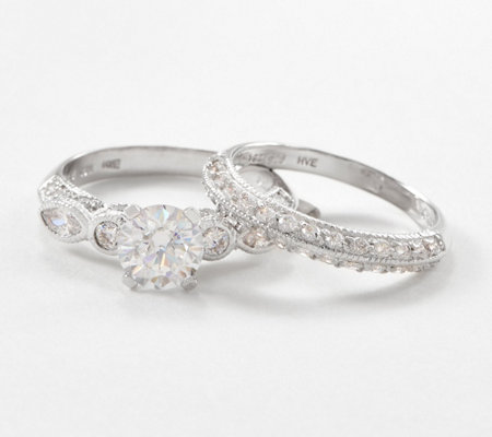 Diamonique 1.60 ct Vintage Inspired Bridal Set Sterling Silver