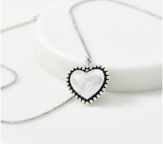 Or Paz Sterling Silver Beaded Heart Pendant with Chain
