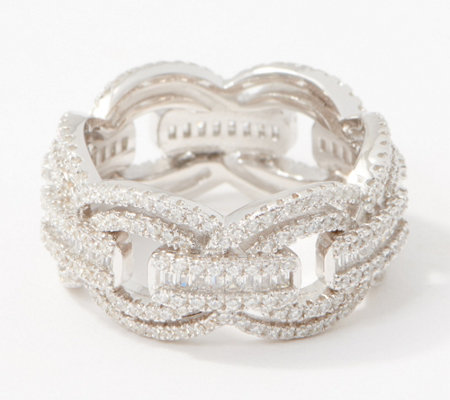 Diamonique Pave and Baguette Link Ring, Sterling Silver