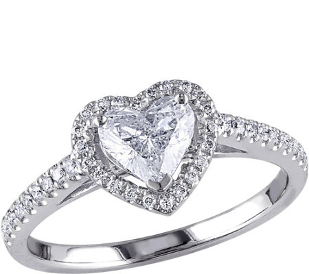 Heart Shaped Diamond Ring, 14K, 9/10 cttw, by Affinity