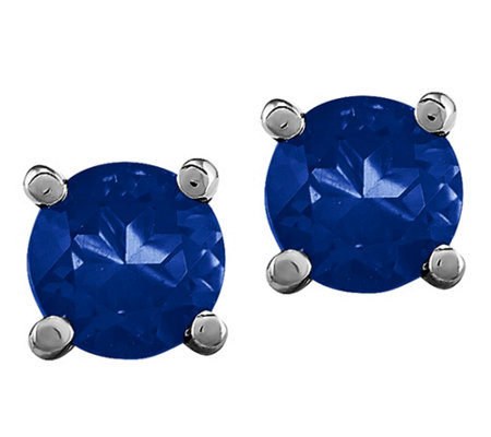 14K White Gold Gemstone Post Earrings