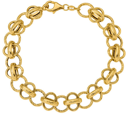"14K Oval and Textured Circle Fancy Link 7-1/2""Bracelet, 7.9g"