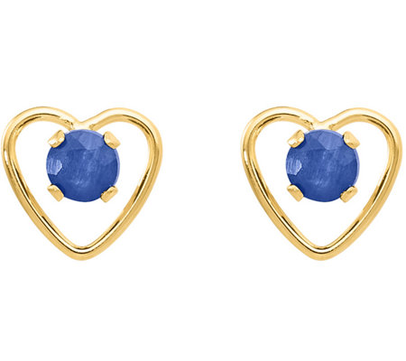 14K Gemstone Cutout Heart Earrings