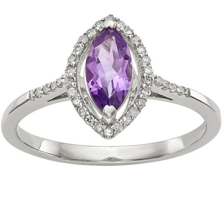 Sterling Marquise Shaped Gemstone & Diamond Ring