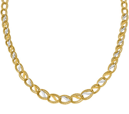 14K Two-tone Parallel Wavy Inset Necklace, 11.1g