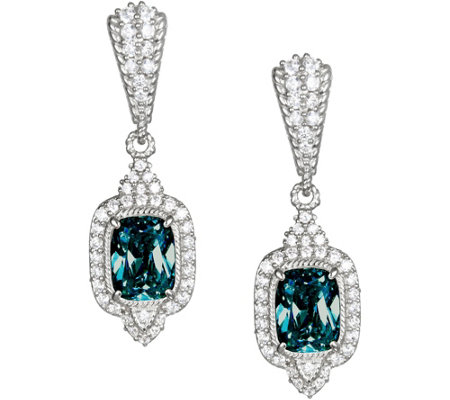 Judith Ripka Sterling Blue Topaz & Diamonique Earrings