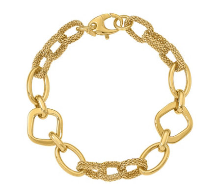 Italian Gold Multi-Shape & Textured Bracelet 14K Gold, 9.2g