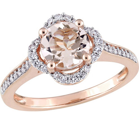 14K Gold 1.17 ct Morganite and 1/4 ct Diamond Halo Ring