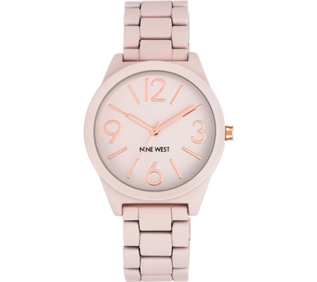 Nine West Ladies Matte Blush Pink Rubberized Bracelet Watch