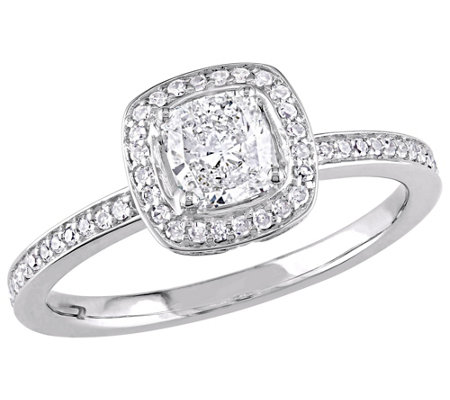 Affinity 14K Gold 3/4 cttw Cushion-Cut DiamondHalo Ring