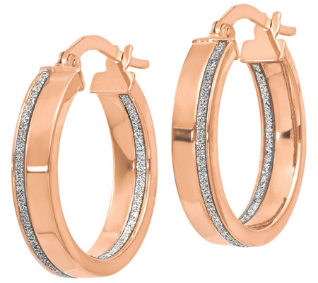 Italian Gold Glimmer Infused Round Hoop Earrings 14K
