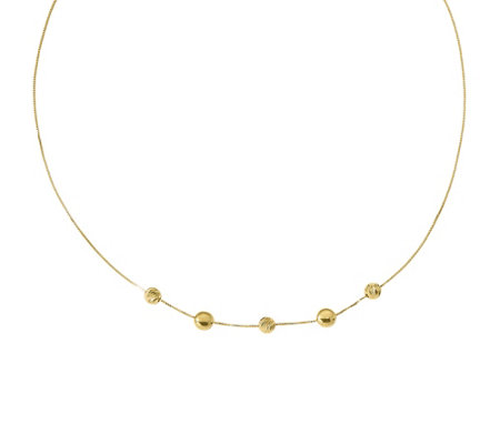 "Italian Gold 17"" Diamond-Cut Bead Station Necklace 14K, 3.2g"