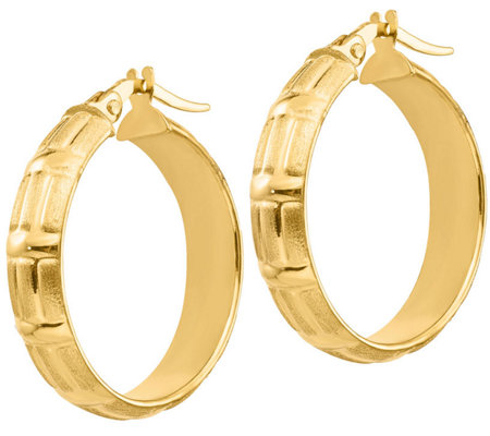 "Italian Gold 1"" Brushed Hoop Earrings 14K, 2.2g"