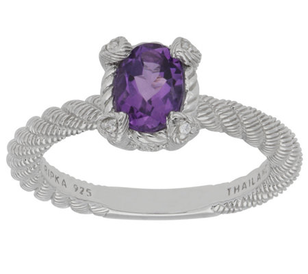 Judith Ripka Sterling Oval Gemstone Ring