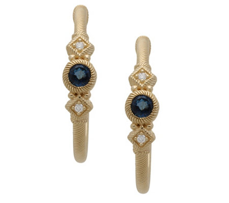 Judith Ripka 14K Gold Gemstone & Diamond Hoop Earrings