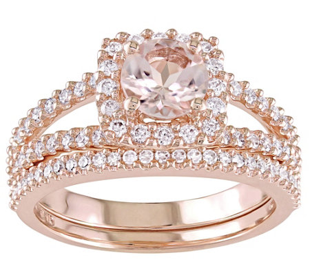 14K Gold 0.85 cttw Round Morganite & Diamond Halo Ring Set