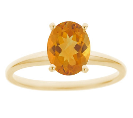 14K Gold Oval Solitaire Gemstone Ring