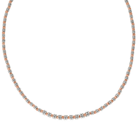 Italian Silver & 14K Rose Gold-Plated Beaded Necklace, 17.3g