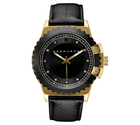 Sean John Men S Goldtone Diamond Accent Watch