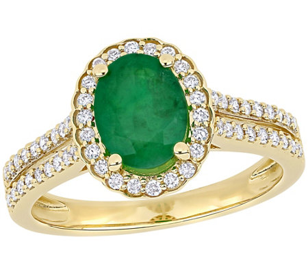 14k 1 20 Cttw Emerald 3 10 Cttw Diamond Engagement Ring
