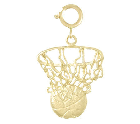 Basketball and Net Charm, 14k