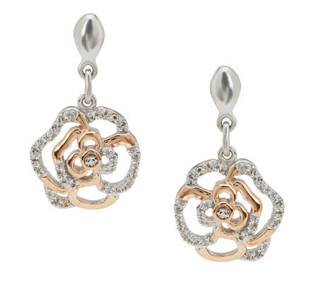 Jean Butler Sterling Silver & Gold Plated Irish Rose Earrings
