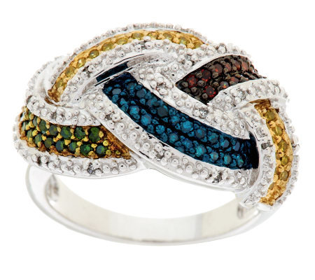 Woven Multi Color Diamond Ring, Sterling, 1/2 cttw, by Affinity