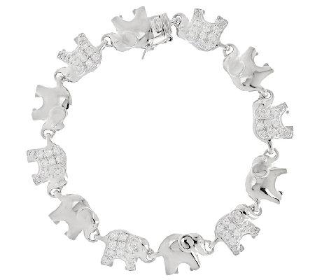 Diamonique Polished And Pave Elephant Bracelet Sterling
