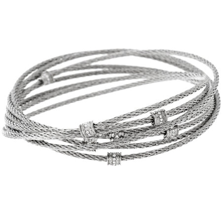 Stainless Steel Multi-Cable Crystal Rolling Bracelet