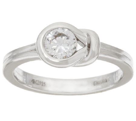 Diamonique 1/2 cttw Knot Ring, Platinum Clad